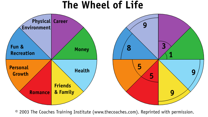 The Wheel of Life diagram from The Coaches Training Institute